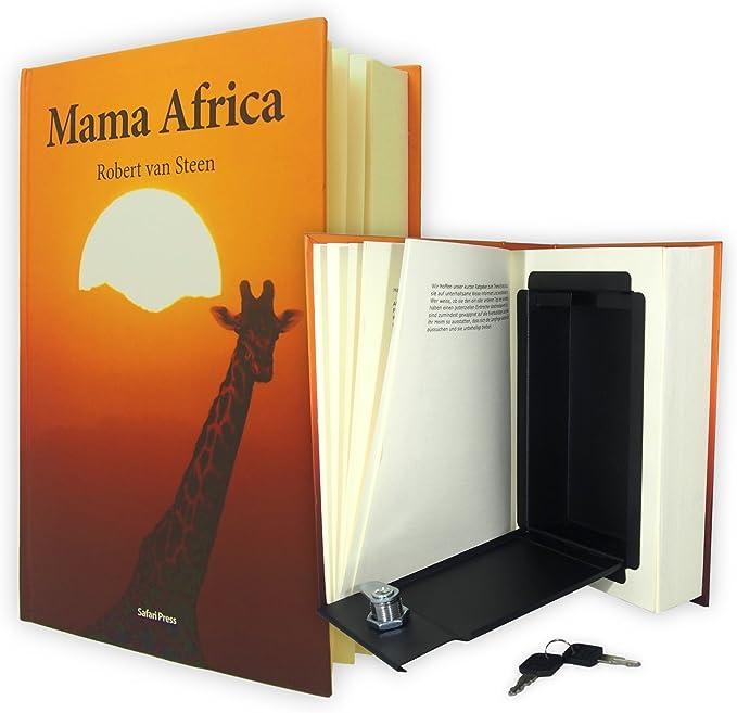 BOOK-ALIKE | Caja fuerte con forma de libro | El escondite camuflado con páginas impresas reales | Caudal de acero con protección RFID para objetos de valor: Amazon.es: Hogar