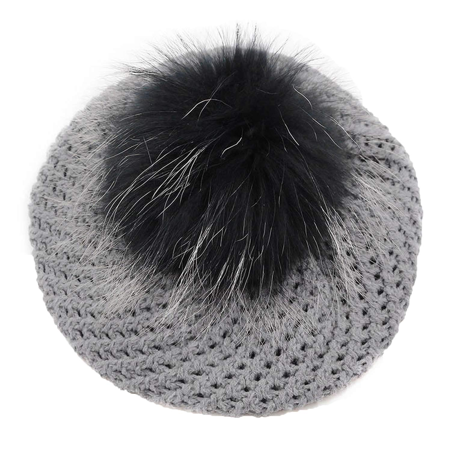 HYID New Soft Warm Autumn Winter Woman Female Beret Hat Cap with Real Fur Pompom Casual Knitted Skullies Hat for Girls