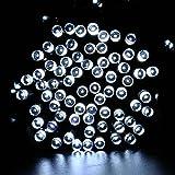 lederTEK potente solare leggiadramente impermeabile luci della stringa di 12m 100 LED 8 modi di Natale lampada decorativa per scoperta, giardino, casa, matrimonio, Natale Capodanno Party (100 LED Bianco)