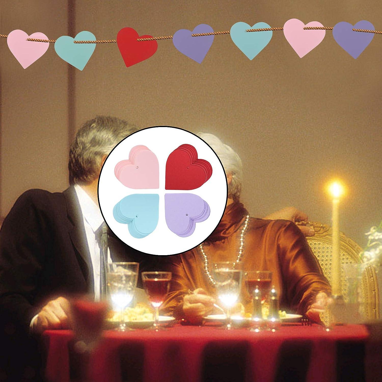 MIZOMOR 200Pcs /Étiquettes Coeur Color/é Coeur Forme Carte Ornement Papier en Forme de Coeur pour Bricolage Mariage DIY Anniversaire /Étiquette Bagage Tag 7 7cm