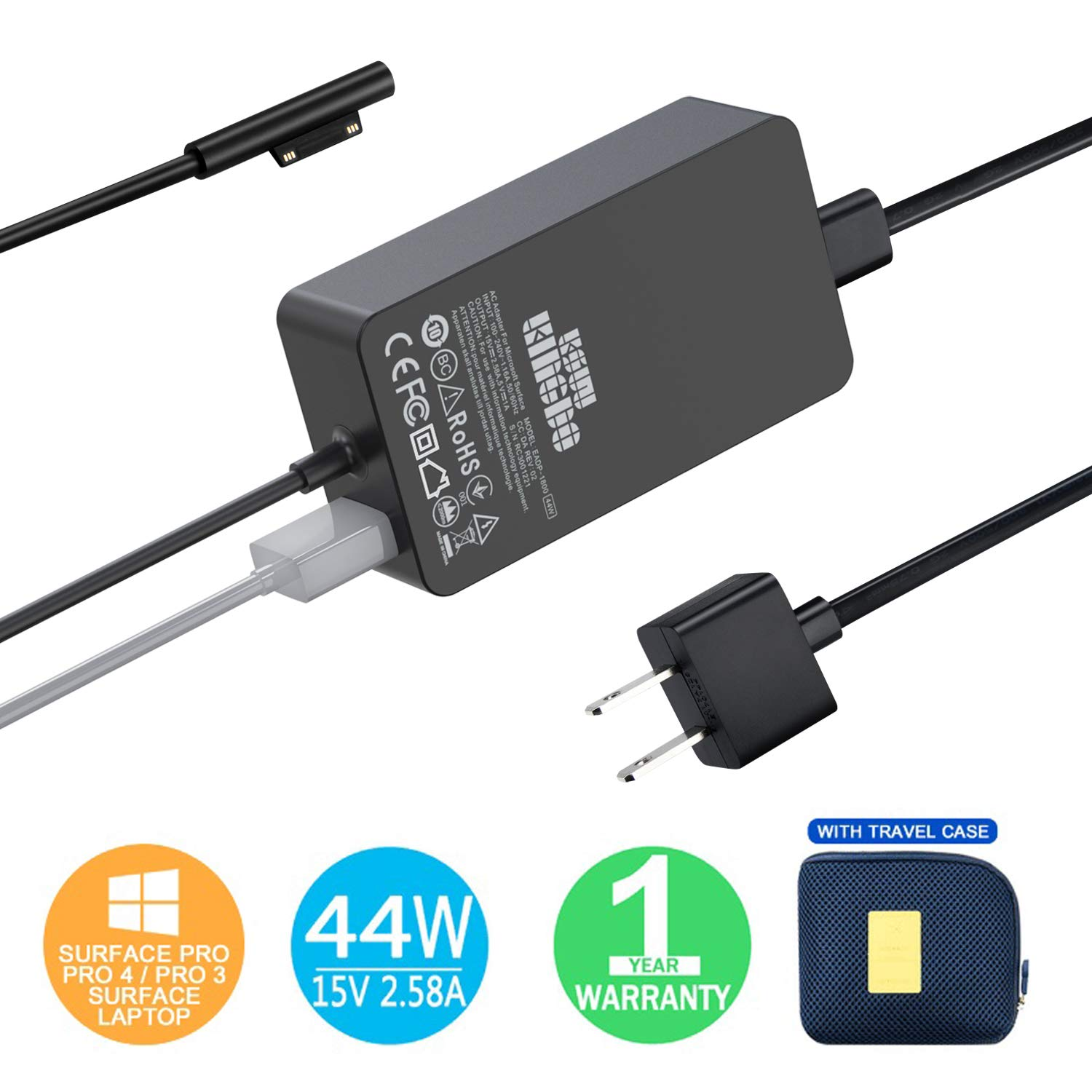 Surface Pro Surface Laptop Charger, 44W 15V 2.58A Power Supply Compatible Microsoft Surface Pro Surface Laptop Surface Pro 3 Pro 4 Surface Go & Surface Book with 6.2ft Power Cord and Carrying Pouch