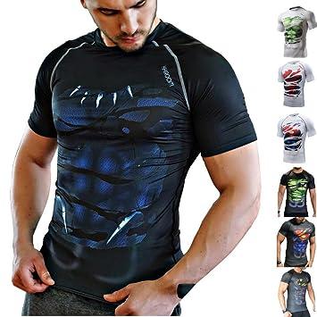 Khroom T-Shirt de Compression de Super-héros pour Homme   Vêtement Sportif à f41d2bda9212