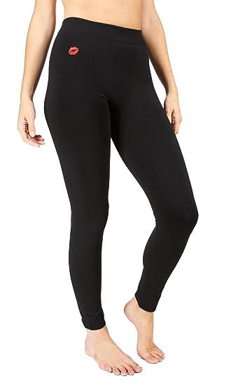 84de3d6a5c8ed2 Amazon.com: Marilyn Monroe Womens Ladies Fleece Lined Footless Black  Leggings Lip Embroidery Size S/M: Shoes
