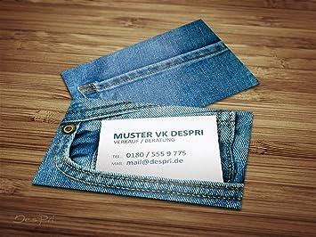 Business Visitenkarten Online Gestalten Despri Design Vk020 Jeans Look 250 Stück Glänzend