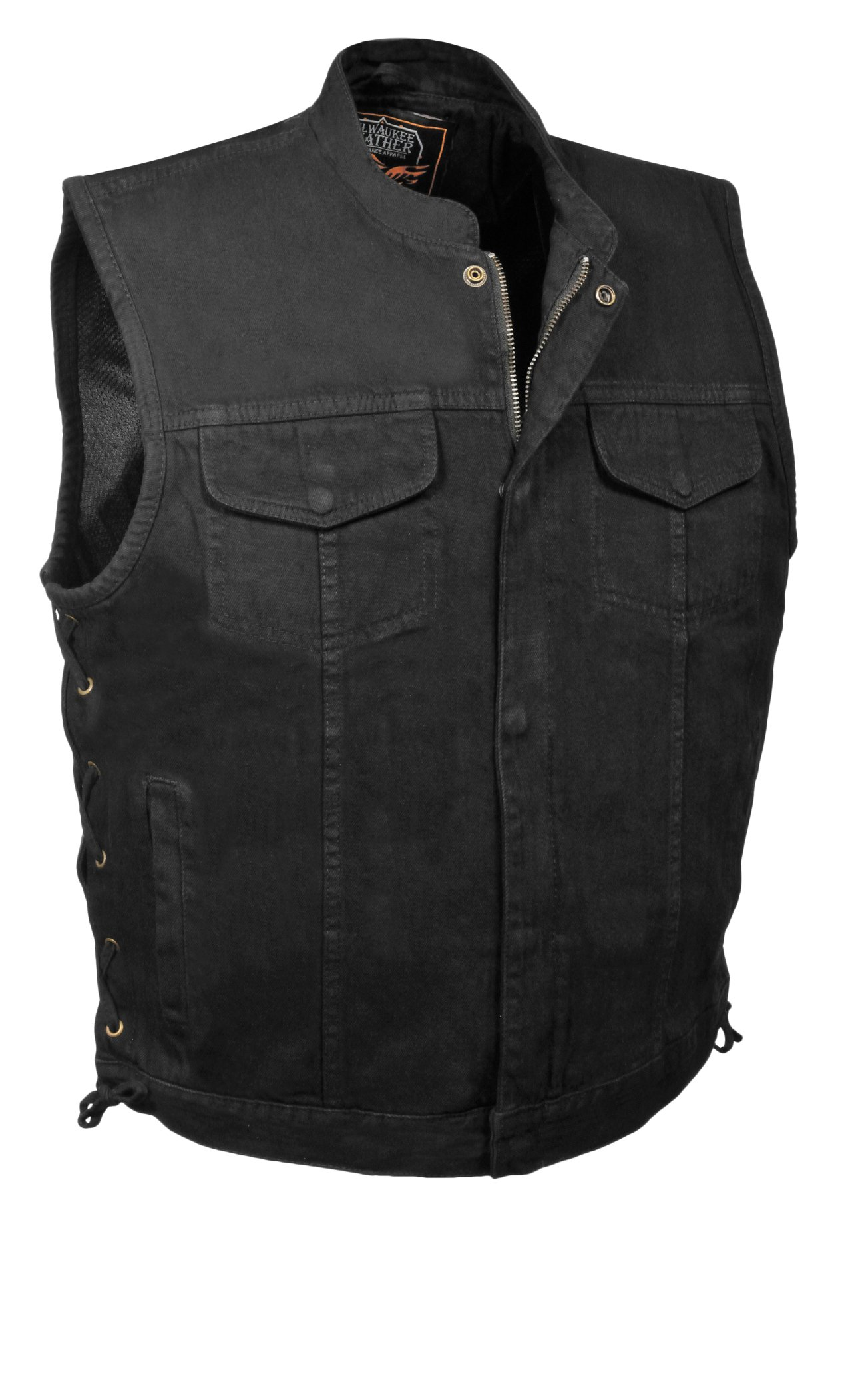Milwaukee Men's Denim Club Vest with Lace, Hidden Snap and Zip (Black, 6X-Large)