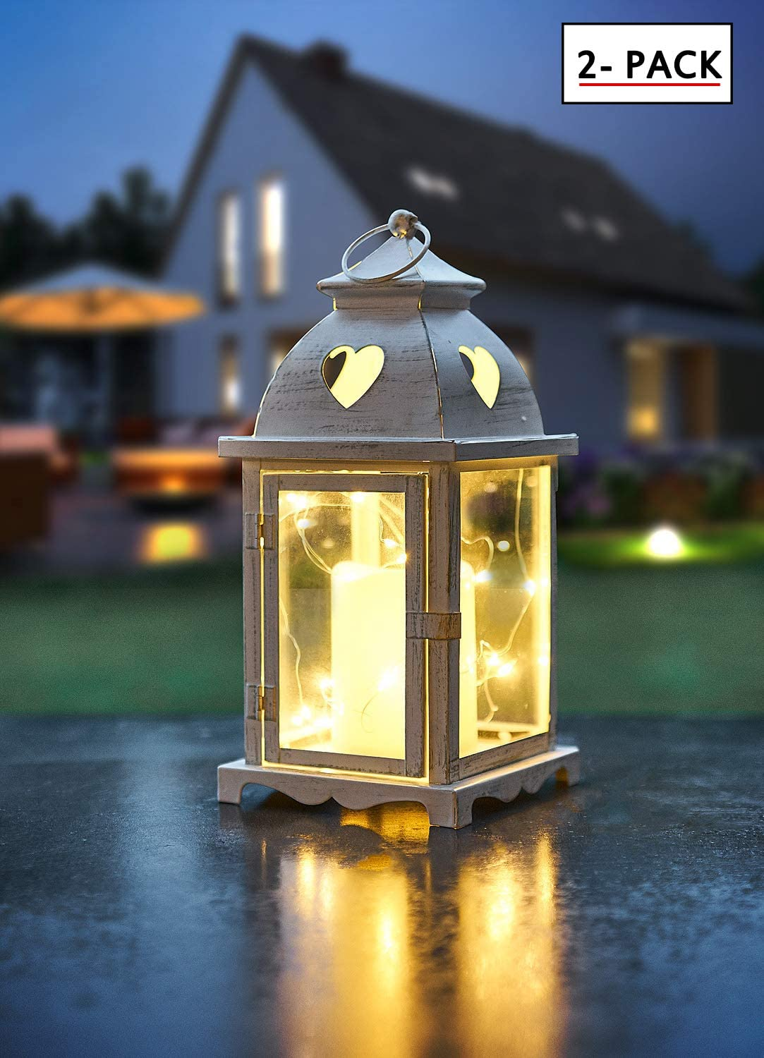 """Decanit 14"""" Tall White Golden Brushed Vintage Metal Flameless Decorative Candle Lantern with 6 Hours Timer 20 Led Copper Wire String Lights - Hanging for Indoor Outdoor-Battery Operated (Style2, 2pcs)"""