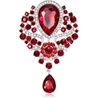 Reizteko Wedding Bridal Big Crystal Rhinestone Bouquet Brooch Pin for Women (Red)