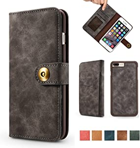 iPhone 8 Plus Case, iPhone 7 Plus Case, Vintage 2 in 1 [Magnetic Detachable] Flip Wallet PU Leather Slim Case [4 Card Holder] Slot Removable Folio Cover for iPhone 7 Plus / 8 Plus 5.5 inch - Gray