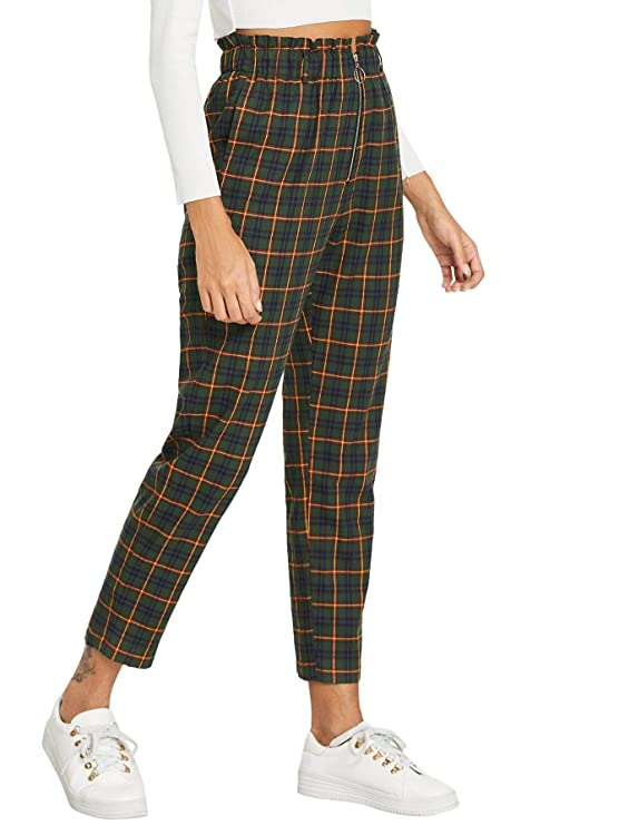 Wdirara Women's Elastic Waist Plaid Print Pants Soft Printed Fashion Leggings by Wdirara