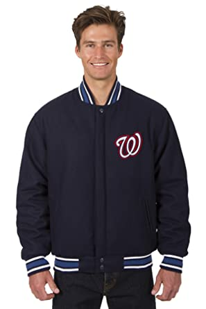 Washington Nationals Jacket Wool Nylon Navy Blue Reversible Embroidered Logos