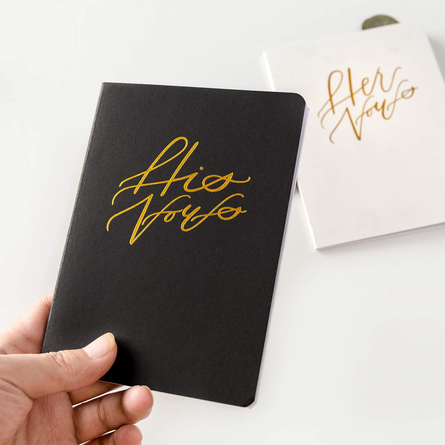 Calculs Wedding Vow Book His & Her Vows with Gold Texture Set of 2 Bridal Shower Gifts