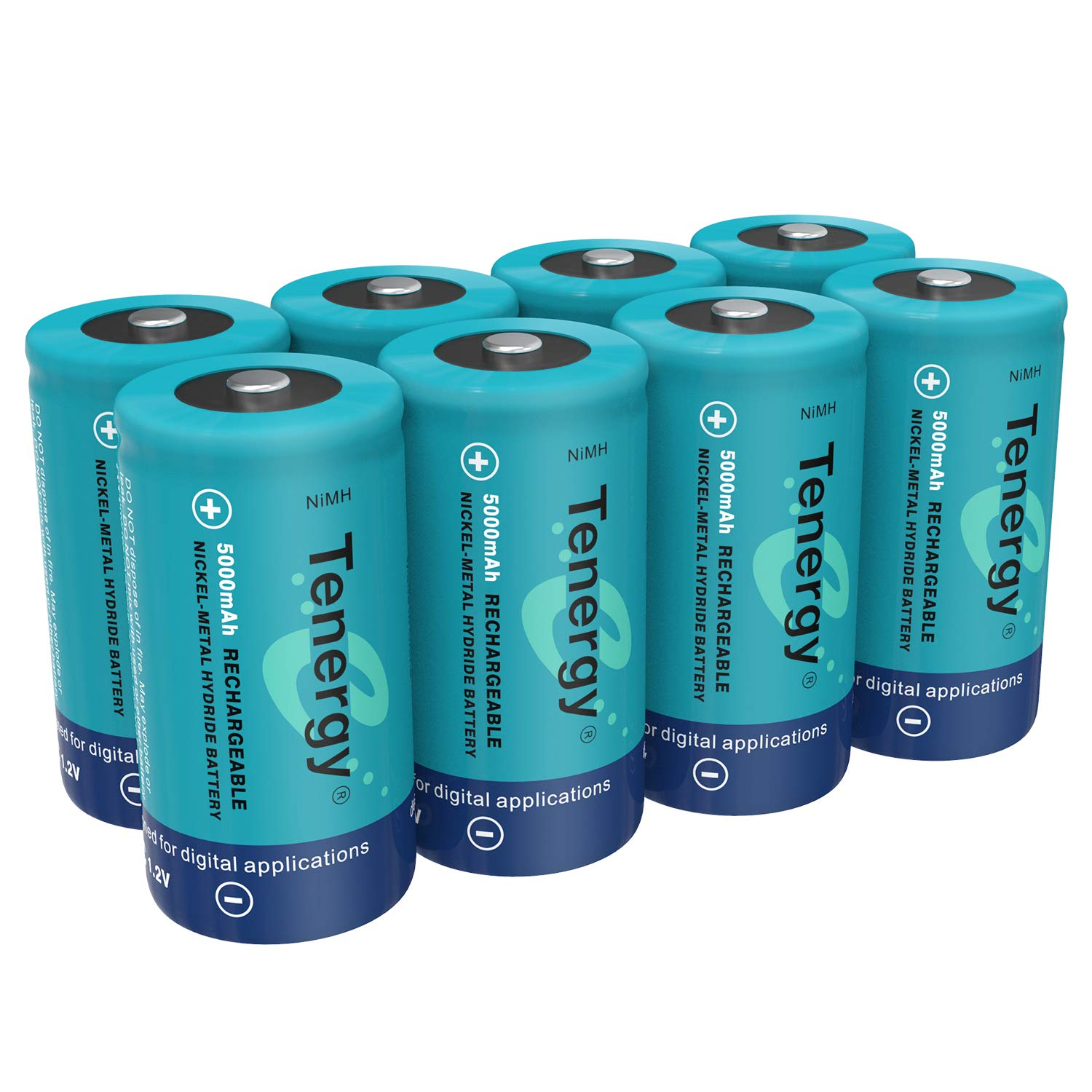Tenergy C Size Battery 1.2V 5000mAh High Capacity NiMH Rechargeable Battery for LED Flashlights Kids Toy and More (8 pcs) by Tenergy