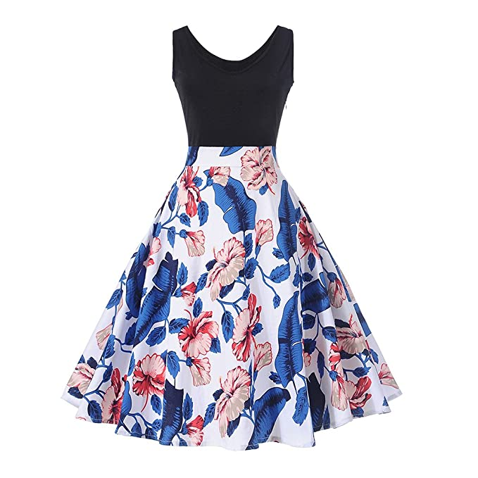 055b2f65f35b YOUCOO Women Floral Print Bridesmaid Party Dress Short Prom Dress Round Neck