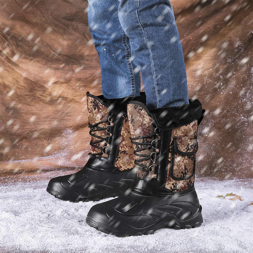 Jiahe Snow Homme Bottes Hiver Camouflage Pluie Chaussures imperm/éables de Fourrure en Peluche Chaud Casual Male mi-Mollet Travail P/êche Boot,A,40