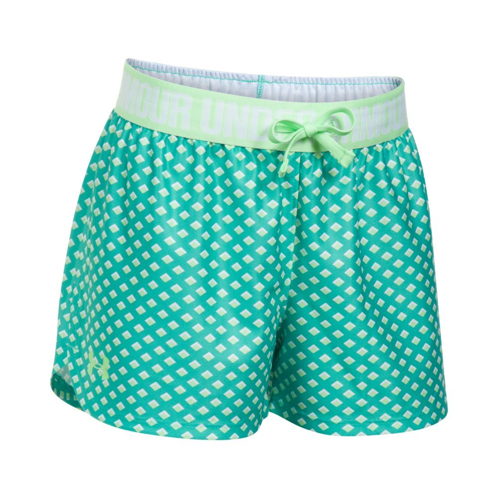 Under Armour Girls Play Up Printed Shorts, Absinthe Green/Summer Lime, Youth Large