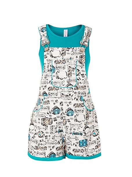 37ebd9ae7 Naughty Niños Girl s Cotton Printed Dungaree with T-Shirt ...