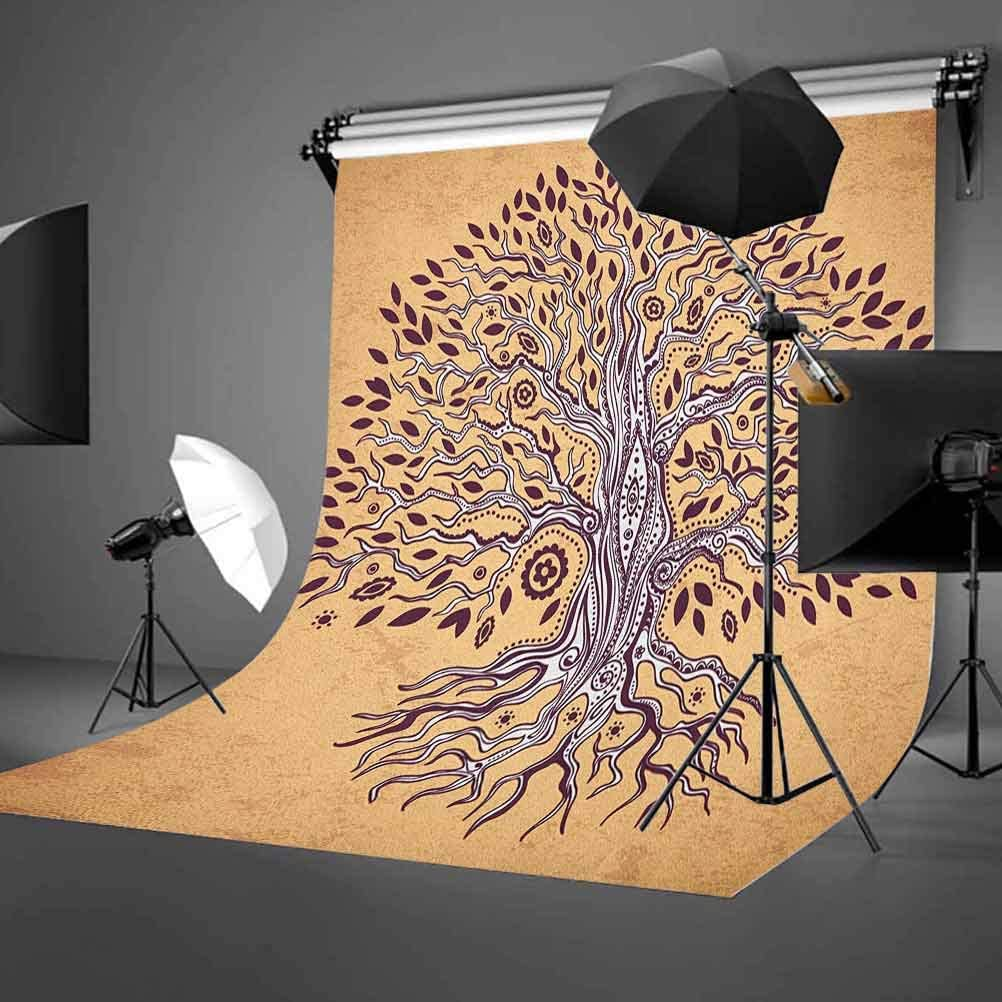 7x10 FT Vinyl Photography Background Backdrops,Vintage Inspired Modern Graphic of an Aged Plant with Swirling Branches Print Background for Child Baby Shower Photo Studio Prop Photobooth Photoshoot