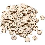 """Demiawaking, 100 x bottoni in legno """"handmade with love"""" per scrapbooking e cucito, 1,5 cm"""