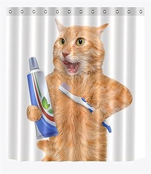 LB Cepillo de gato es dientes Juego de cortina de ducha antideslizante Alfombrilla de baño,Resistente ...