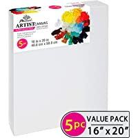 Phoenix Pre Stretched Canvas for Painting - 16x20 Inch / 5 Pack - 5/8 Inch Profile of Super Value Pack for Acrylics, Oils & Other Painting Media