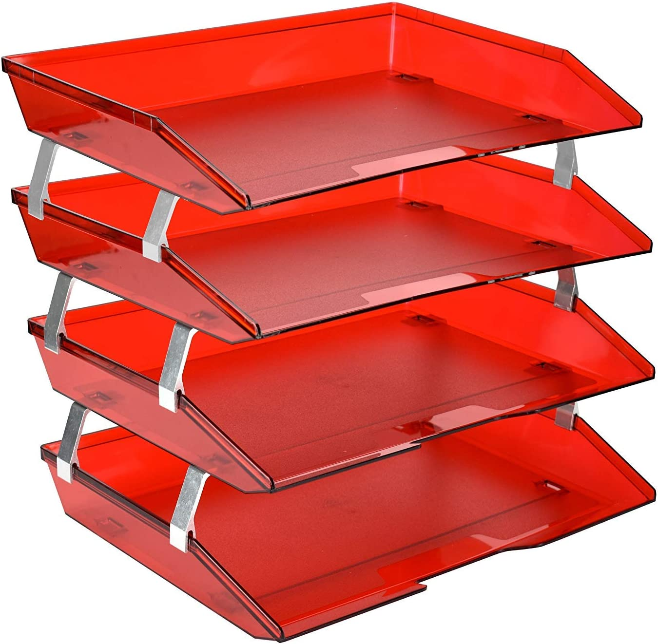 Acrimet Facility 4 Tier Letter Tray Side Load Plastic Desktop File Organizer (Clear Red Color)
