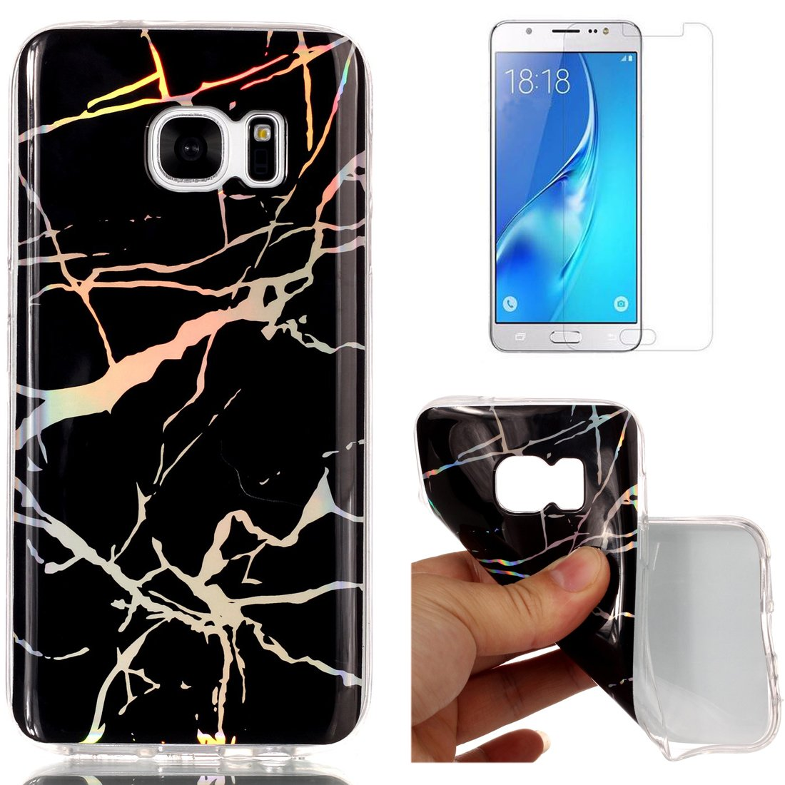 For Samsung Galaxy S7 Marble Case Purple, OYIME Unique Luxury Glitter Colorful Plating Pattern Skin Design Clear Silicone Rubber Slim Fit Ultra Thin Protective Back Cover Glossy Soft Gel TPU Shell Shockproof Drop Protection Protective Transparent Bumper an