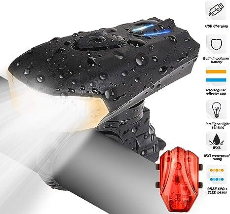 RenFox Luz Bicicleta Recargable USB, LED Luz Bicicleta con 400lm & IP65 Resistente con 5 Modes, Faro Delantero superbrillante y luz Trasera para Bicicletas - Seguridad para la Noche: Amazon.es: Deportes y