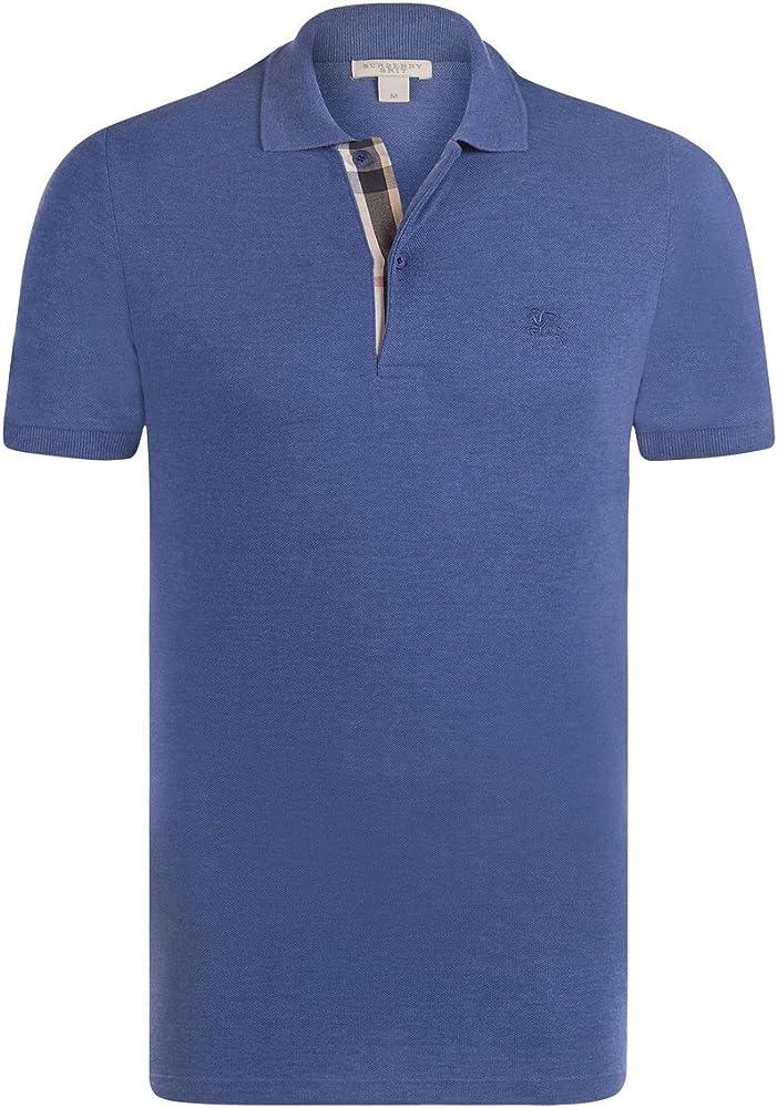 BURBERRY - Polo - con botones - para hombre azul acero Medium ...
