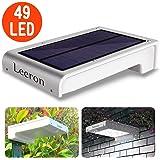 Luce Solare Leeron Lampada Wireless ad Energia Luce Solare da Esterno con Sensore di Movimento, 49 LED Lampadine Super Luminoso Impermeabile per Giardino, Cortile, Scale, Prato, Parete, Mur