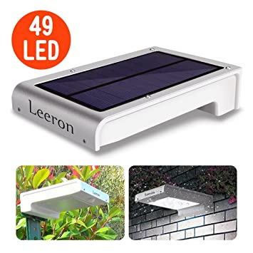 Leeron 49 LED Lampe Solaire Detecteur de Mouvement Eclairage Solaire Lampe  Solaire Jardin sans Fil, pour Store Exterieur, Escalier Exterieur, Spot ...