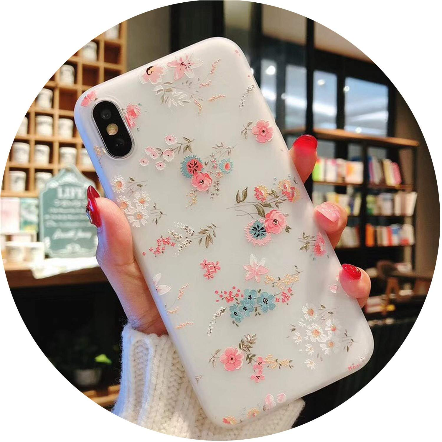 Phone Case for iPhone 6 6S 7 8 Plus X Fashion 3D Relief Flower Flamingo Leaf Cat Dog Watermelon Soft TPU for iPhone 8, T23, for iPhone 7 Plus HAATVN ADULT