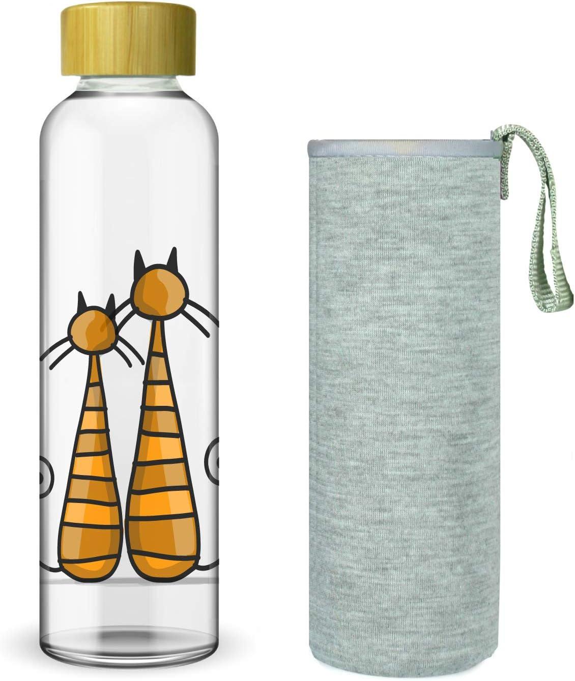 Wenburg Cantimplora Botella de Cristal con Tapa de bambú 550/750 ml, Cubierta de Neopreno. Botella Deportiva/Botella de Agua de Vidrio. para Llevar. para té, Batidos