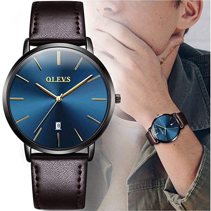 Amazon.com: OLEVS Slim Watch for Men Day Date - Luxury Watches for Men and Ultrathin Comfortable Genuine Leather Wristwatch: Watches