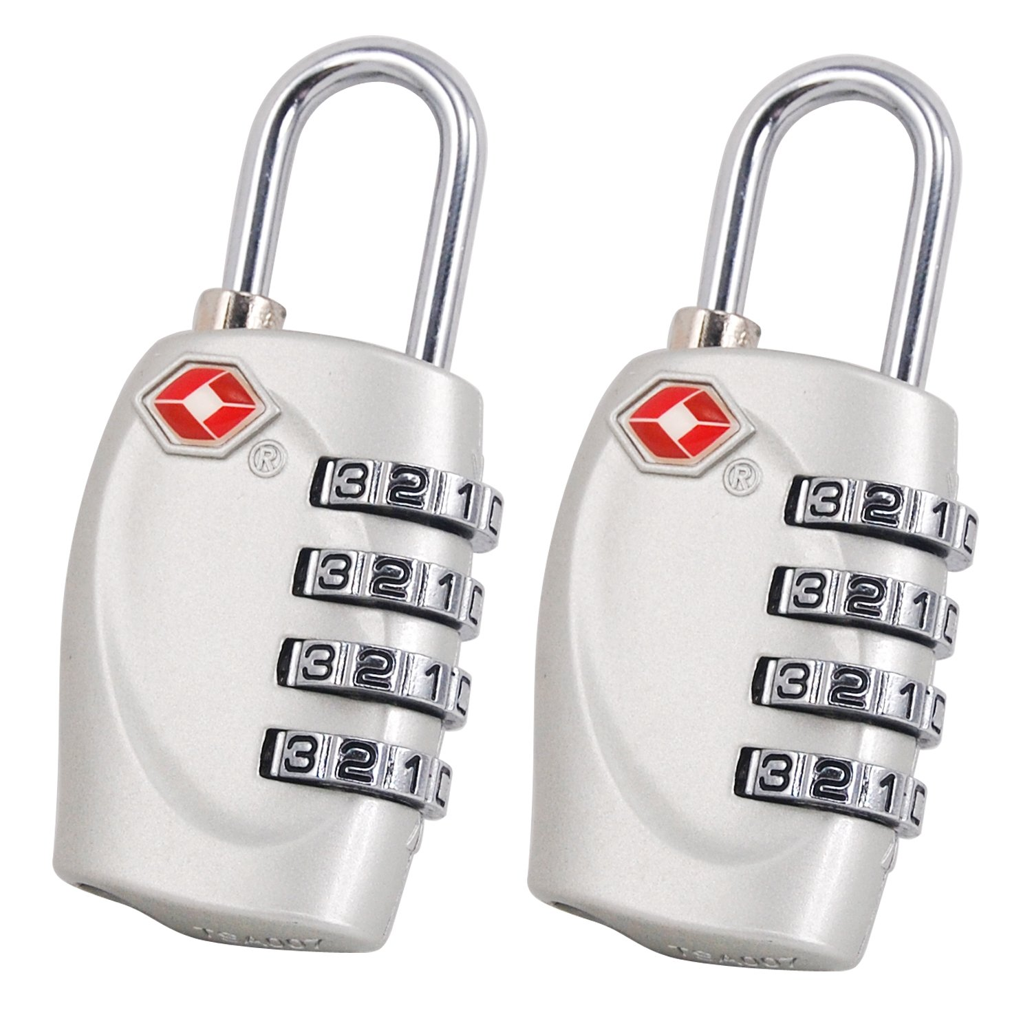 2 X 4 Dial TSA Combination Padlock for Luggage Suitcases and Travel (Silver) TRIXES HH41