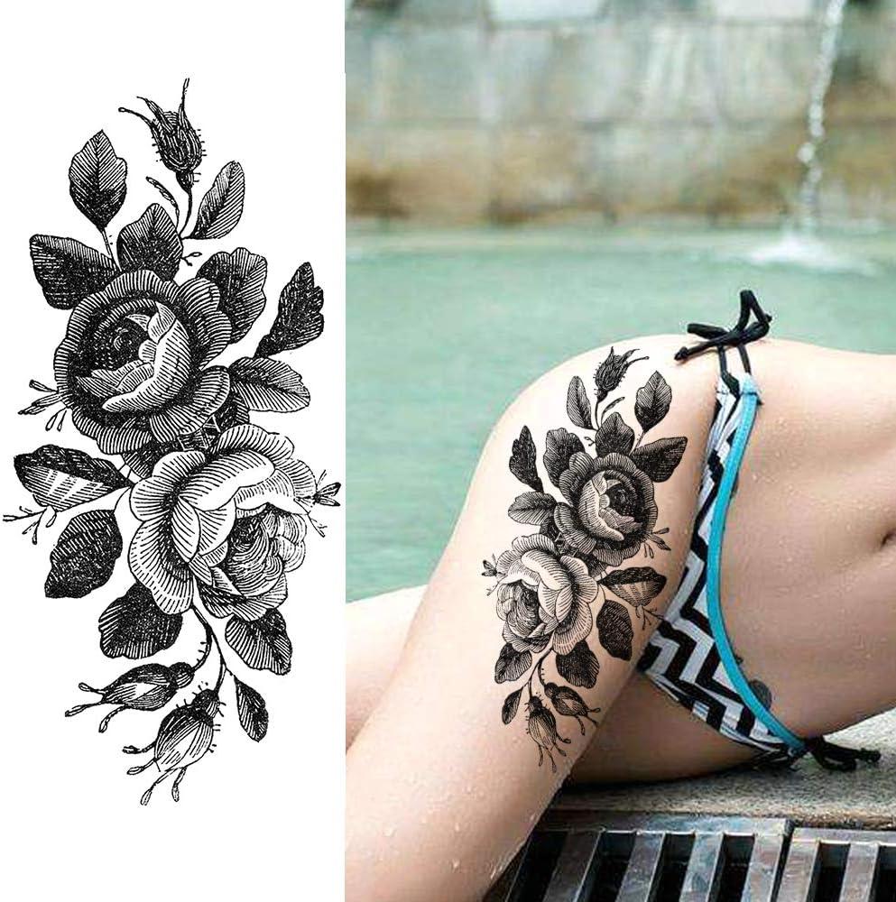 LAROI 8 Hojas Pétalo Vivo 3d Flor Rosa Adultos Tatuajes Temporales ...