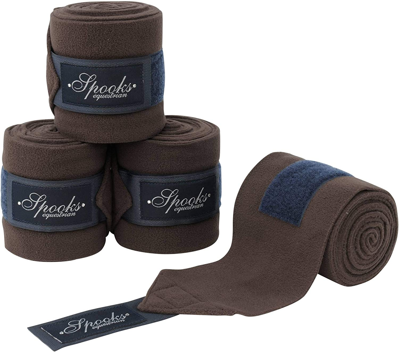 SPOOKS Bandagen 4er Set Pferd warmblut vollblut cob Beinschutz Klett chocolate//navy Dressur Bandages Fineline Elastikbandagen