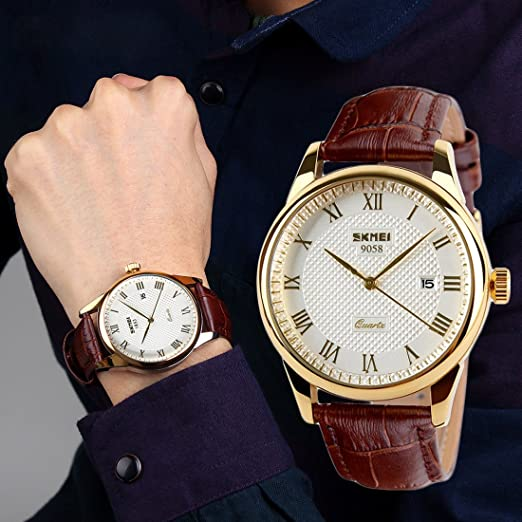 product movement watch watches quartz strap mens brown leather wrist men s white dial