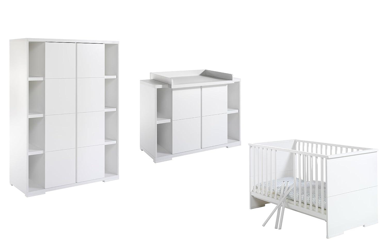 Schardt 118615202 Kinderzimmer Maximo, weiß, bestehend aus Kombi-Kinderbett, Wickelkommode und 2-türigem Kleiderschrank, 2 Seitenregalen