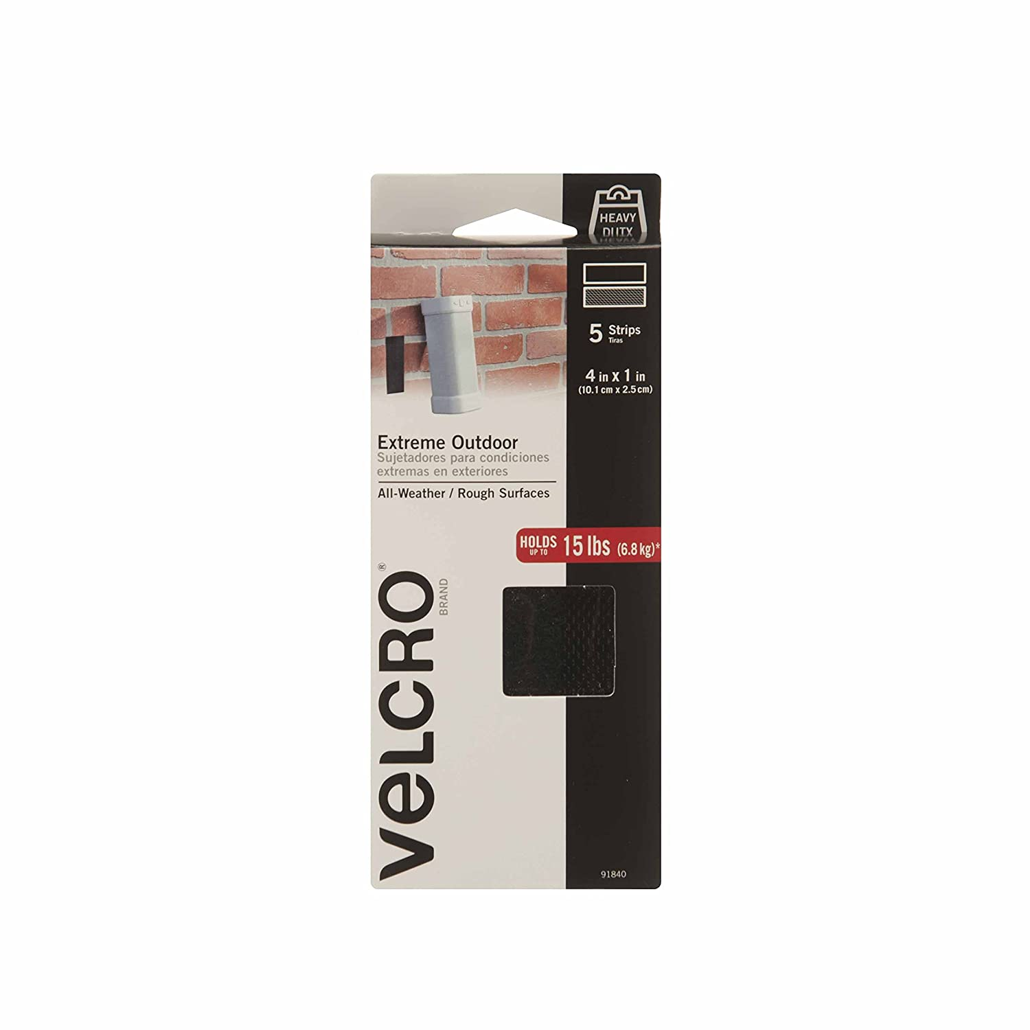 Amazon.com: VELCRO Brand - Industrial Strength Extreme Outdoor | Heavy Duty, Superior Holding Power on Rough Surfaces | 5 Strips | 4in x 1in | Black: Office ...