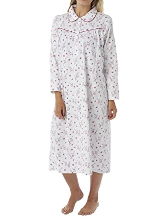Ladies Womens Nightie Wincey Nightdress White Long Sleeve Sleepwear  Pattern  Amazon.co.uk  Clothing 9fd1688ef