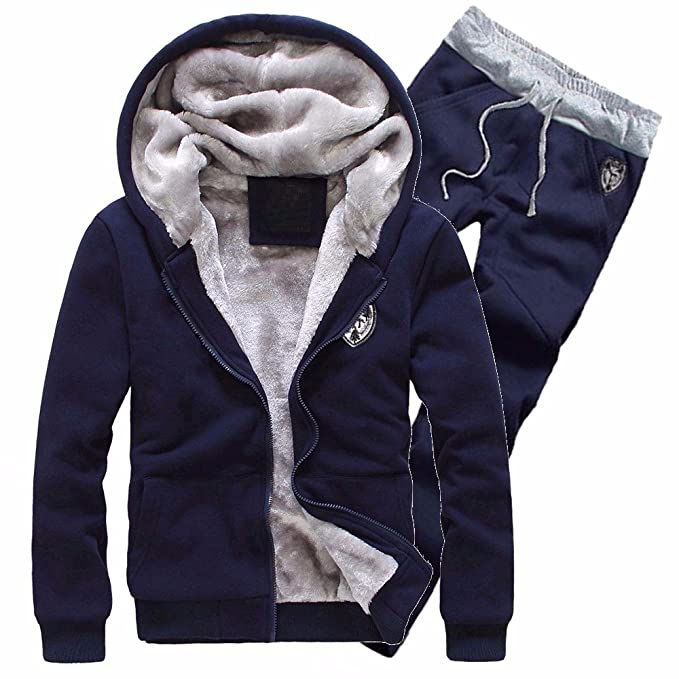 YanHoo Abrigos Hombre Invierno Chándal para Hombre Warm Fleece Sport Hooded Hoodie Coat Hoodies + Pants Sweat Suit Suéter Tipo Cardigan con Capucha para ...