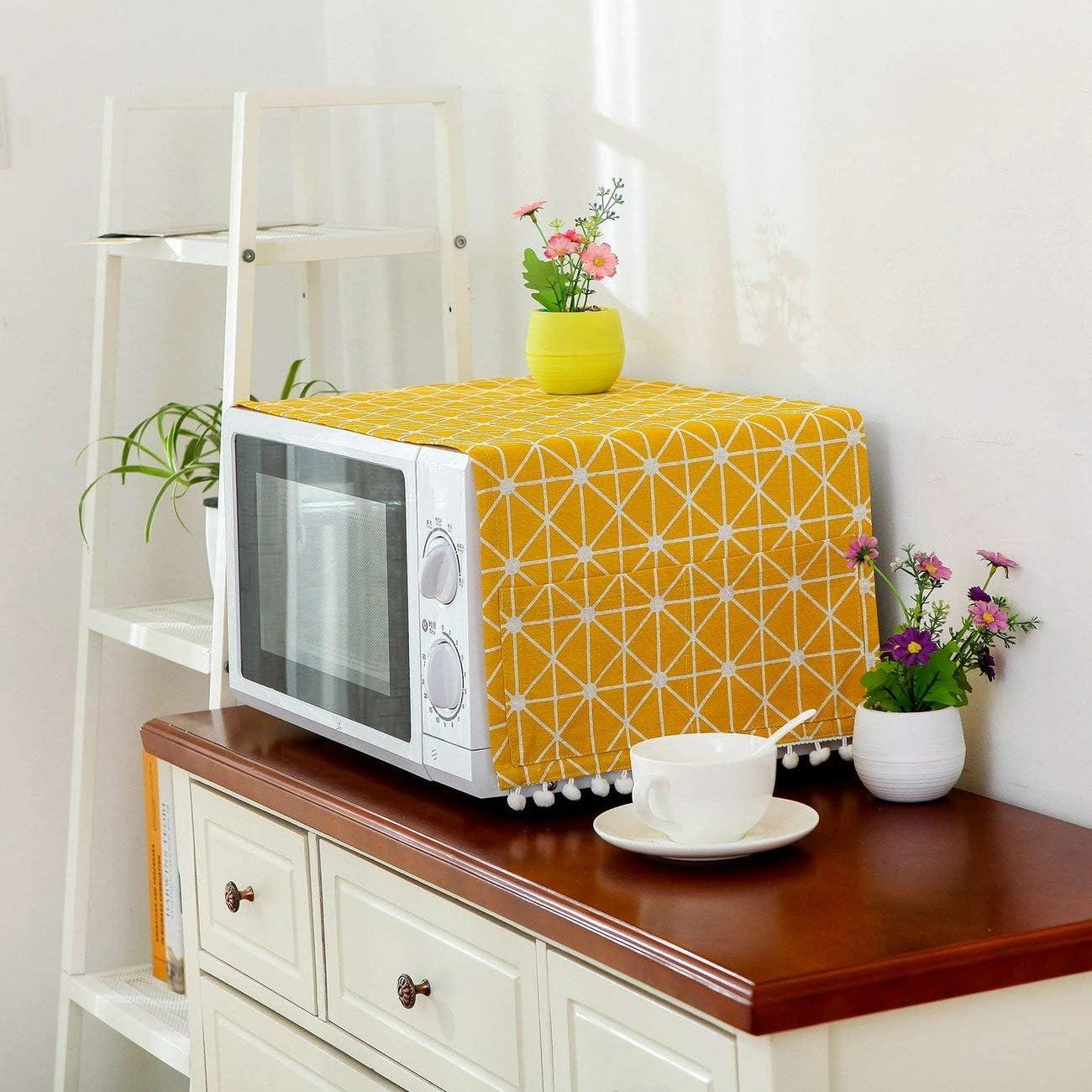 Cubierta de lino de estilo moderno Cubierta de prueba de polvo de microondas Campana de horno de microondas Decoración para el hogar Toalla de microondas con bolsa Suministros para el hogar