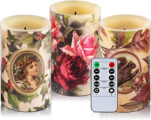 HITHYS Flameless Flickering LED Candles Set of 3, Diameter 3 X 5 Tall with 10-Key Remote Control Timer Classic Optical Fiber Wick Real Wax Battery Operated Candles, Cream Color Warm Light