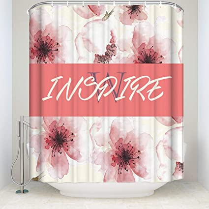 Amazon Bizwheo Bathroom Shower Curtain Cherry Blossom Style