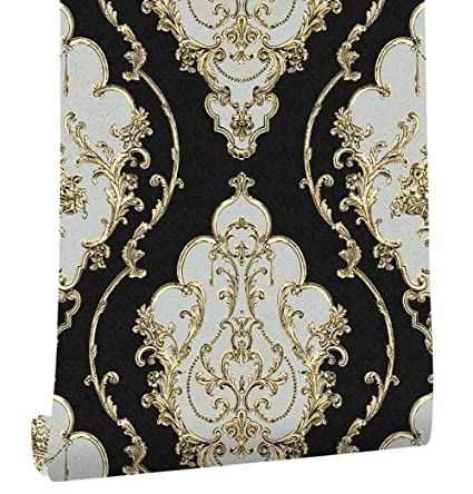 Modern Luxury Heavy Texture Victorian Damask Wallpaper Black Gold Brown Silver 3d Living Room Bedroom Home Art Decor
