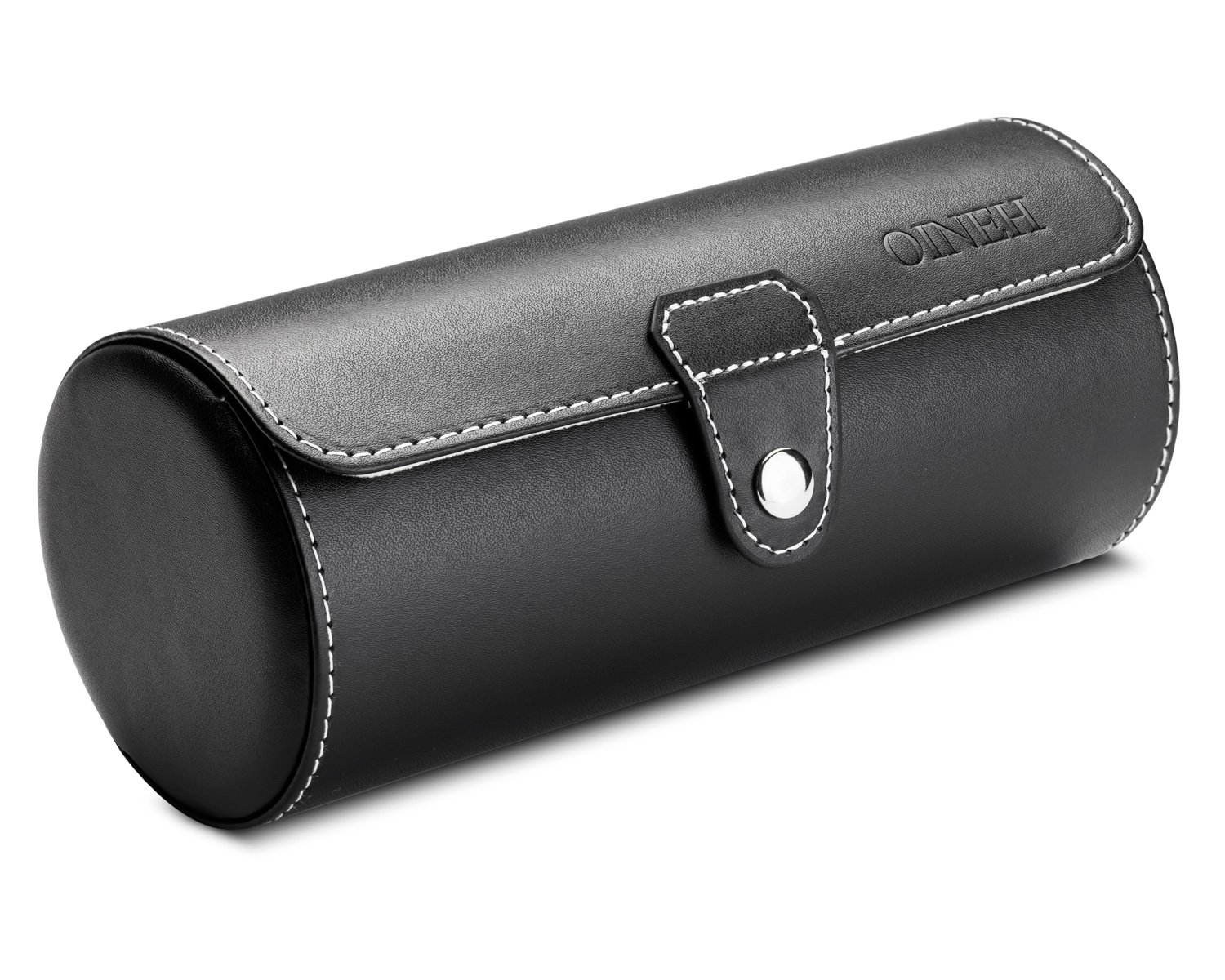Leatherette Roll Traveler's Watch Storage Organizer for 3 Watch and/or Bracelets (Black) by Oineh (Image #2)