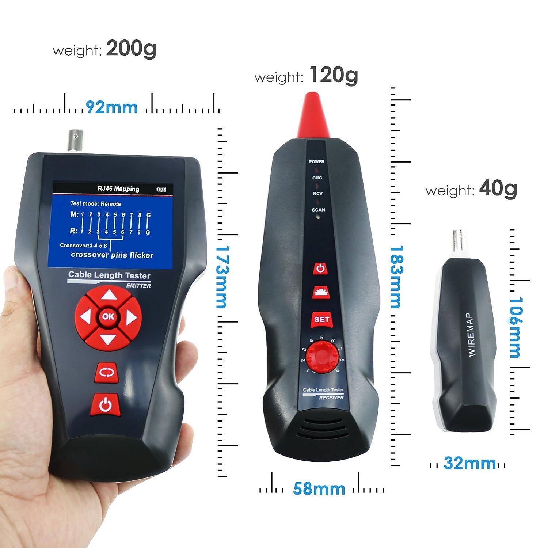 Multifuncional medidor de comprobador de cable de red STP/UTP 5e 6e Cable Coaxial red teléfono alambre de metal común para RJ45 RJ11 BNC ping/PoE: ...