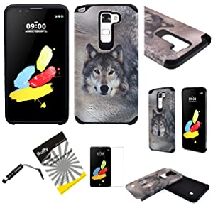 For LG G Stylo 2 / LG Stylus 2 LS775 ITUFFY 3items: LCD Protector Film+Stylus Pen+Dual Layer [Shock Absorbant] [Slim Fit] Hybrid Armor Case (Grey Wolf)