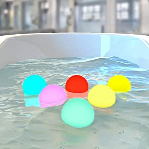 LOFTEK Bath Toys 10 Packs, 3-inch 7 RGB Colors Changing LED Glow Ball, Replaceable Button Battery Full Waterproof Floating Baby Bathtub Toys with 6 PCS Extra Batteries, Perfect for Toy and Decor