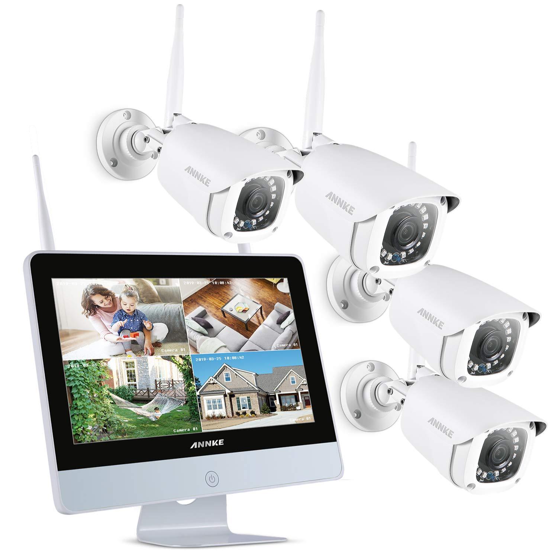"""ANNKE Kit de Seguridad WiFi 1080P 8CH NVR con Monitor 12"""" LCD y 4 Cámaras de videovigilancia 2MP inalámbrica IP66 Sistema Plug y Play Visión Nocturna con Leds Infrarrojos Acceco Remoto-sin HDD product image"""